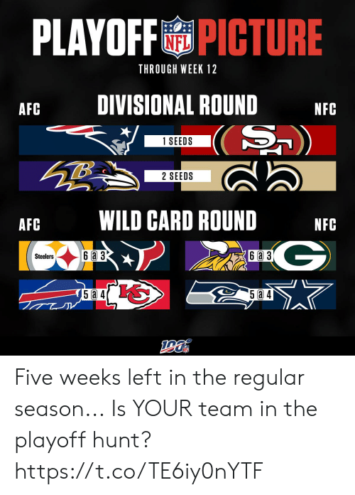 3 6: PLAYOFFPICTURE  THROUGH WEEK 12  DIVISIONAL ROUND  AFC  NFC  (S)  1 SEEDS  2 SEEDS  WILD CARD ROUND  AFC  NFC  G  6a 3  6 a 3  Steelers  5a 4 Five weeks left in the regular season...  Is YOUR team in the playoff hunt? https://t.co/TE6iy0nYTF