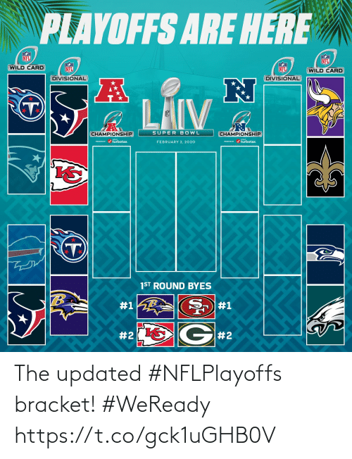 2 2: PLAYOFFS ARE HERE  NFL  NFL  WILD CARD  NFL  NFL  (WILD CARD  DIVISIONAL  DIVISIONAL  LAIV  SUPER BOWL  CHAMPIONSHIP  CHAMPIONSHIP  PESEND / turbotax.  ESEVID r / turbotax.  FEBRUARY 2, 2020  1ST ROUND BYES  #1  #1  G#2  The updated #NFLPlayoffs bracket! #WeReady https://t.co/gck1uGHB0V