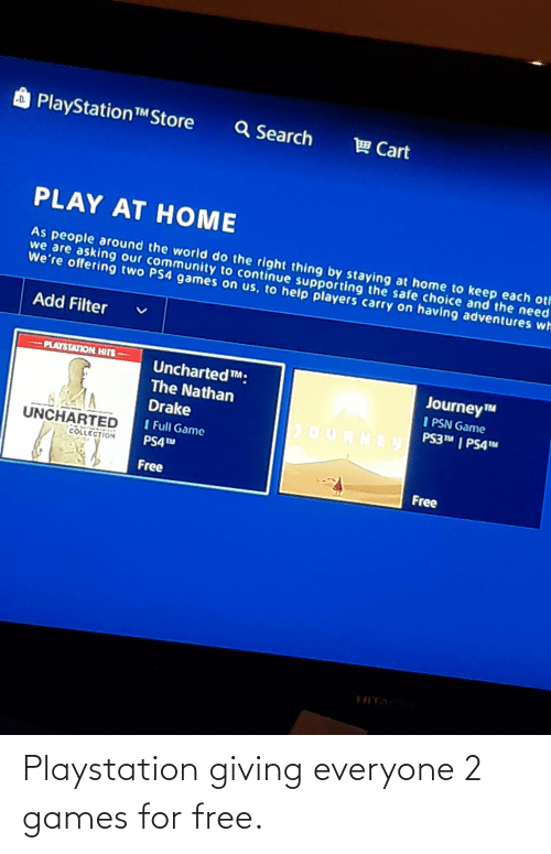 PlayStation: Playstation giving everyone 2 games for free.