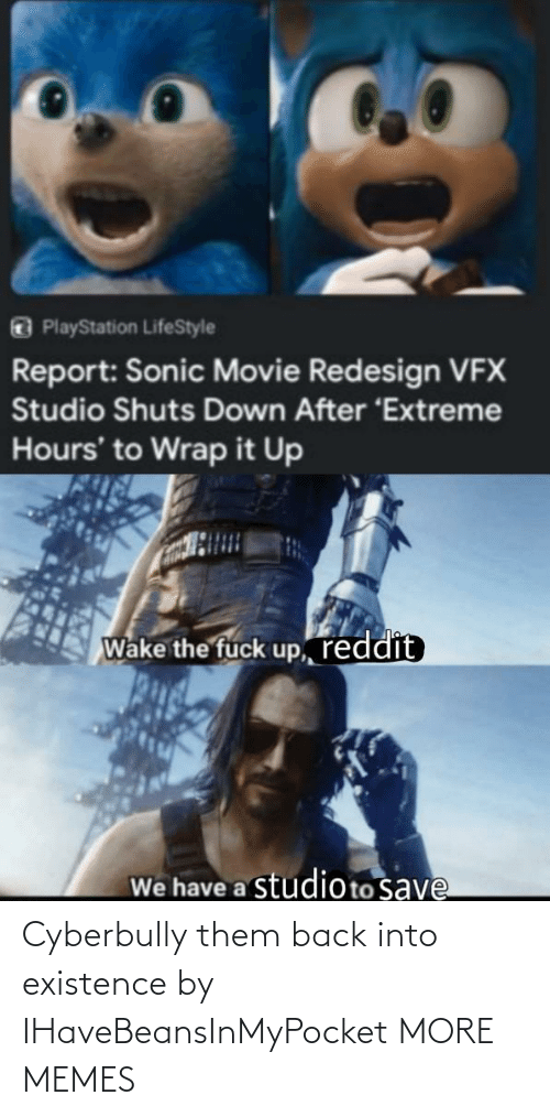 Dank, Memes, and PlayStation: PlayStation LifeStyle  Report: Sonic Movie Redesign VFX  Studio Shuts Down After 'Extreme  Hours' to Wrap it Up  Wake the fuck up, reddit  We have a studioto save Cyberbully them back into existence by IHaveBeansInMyPocket MORE MEMES