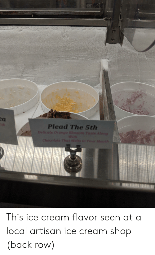 Funny, Chocolate, and Ice Cream: Plead The 5th  Delicate Orange Blossom Taste Along  With  Chocolate That Melts In Your Mouth  ith This ice cream flavor seen at a local artisan ice cream shop (back row)