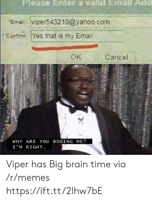 viper: Please Enter a valld Email Add  Emai:viper543210@yahoo.com  Confirm  Yes that is my Email  OK  Cancel  WHY ARE You BOOING ME?  I'M RIGHT Viper has Big brain time via /r/memes https://ift.tt/2Ihw7bE