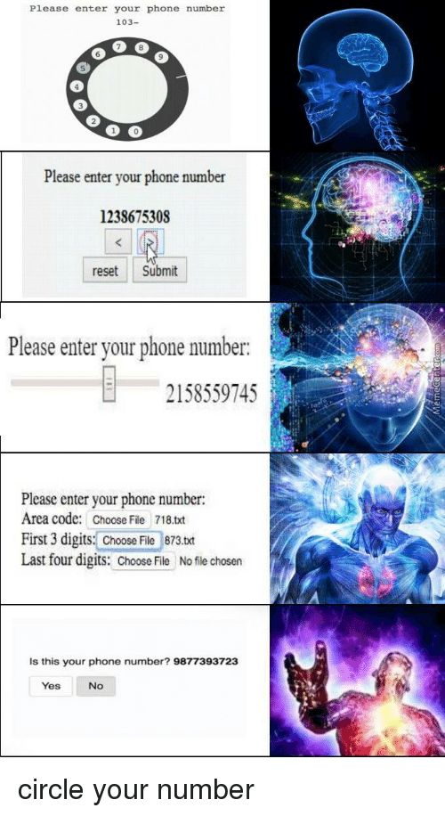 Phone, Phone Number, and Yes: Please enter your phone number  103-  6  9  5  3  0  Please enter your phone number  1238675308  reset Submit  Please enter your phone number.  2158559745  Please enter your phone number:  Area code: Choose File 718.txt  First 3 digits: Choose File 873.txt  Last four digits: Chooile No file chosen  Is this your phone number? 9877393723  Yes  No circle your number