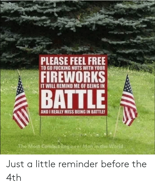 remind me: PLEASE FEEL FREE  TO GO FUCKING NUTS WITH YOUR  FIREWORKS  IT WILL REMIND ME OF BEING IN  BATTLE  AND I REALLY MISS BEING IN BATTLE!  The Most Combat Engineer Man in the World Just a little reminder before the 4th