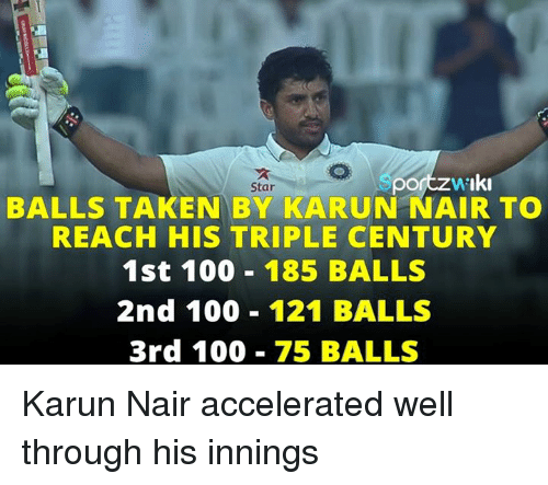 Karun Nair: po  Iki  Star  BALLS TAKEN BY KARUN NAIR TO  REACH HIS TRIPLE CENTURY  1st 100 185 BALLS  2nd 100 121 BALLS  3rd 100  75 BALLS Karun Nair accelerated well through his innings