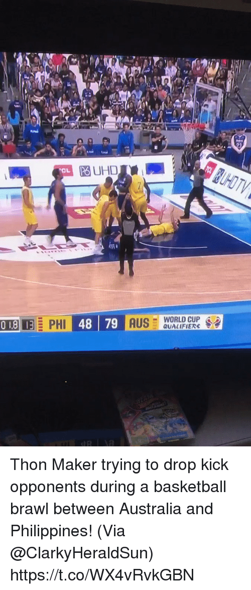 brawl: PO UHD  OL  -WORLD CUP .  QUALIFIERS Thon Maker trying to drop kick opponents during a basketball brawl between Australia and Philippines!   (Via @ClarkyHeraldSun)   https://t.co/WX4vRvkGBN
