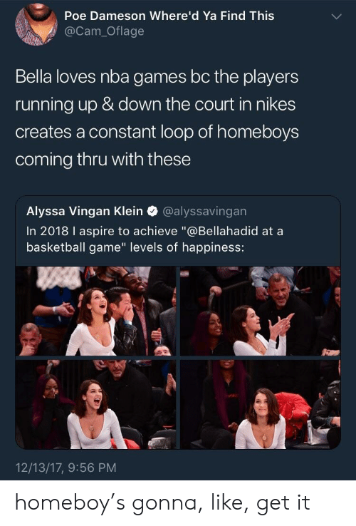 "up down: Poe Dameson Where'd Ya Find Thiss  @Cam_Oflage  Bella loves nba games bc the players  running up & down the court in nikes  creates a constant loop of homeboys  coming thru with these  Alyssa Vingan Klein @alyssavingan  In 2018 I aspire to achieve ""@Bellahadid at a  basketball game"" levels of happiness:  12/13/17, 9:56 PM homeboy's gonna, like, get it"