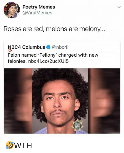 melons: Poetry Memes  @ViralMemes  Roses are red, melons are melony...  NBC4 Columbus @nbc4i  Felon named 'Fellony' charged with new  felonies. nbc4i.co/2ucXUI5 🤣WTH