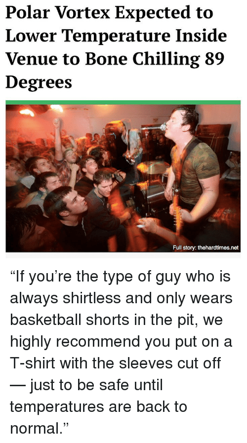 """Basketball, Memes, and Back: Polar Vortex Expected to  Lower Temperature Inside  Venue to Bone Chilling 89  Degrees  Full story: thehardtimes.net """"If you're the type of guy who is always shirtless and only wears basketball shorts in the pit, we highly recommend you put on a T-shirt with the sleeves cut off — just to be safe until temperatures are back to normal."""""""