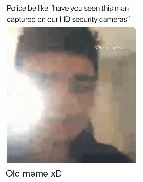 "have you seen this: Police be like ""have you seen this man  captured on our HD security cameras""  IG PolarSaurusRex Old meme xD"