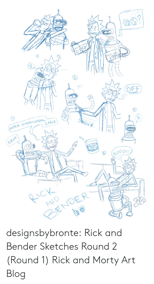 Police, Rick and Morty, and Target: POLICE DEPT  C-13  2  272  2!?  1  INTER OIMENSIONAL  CABLE  NEAT  RND  CENDER designsbybronte:  Rick and Bender Sketches Round 2 (Round 1) Rick and Morty Art Blog
