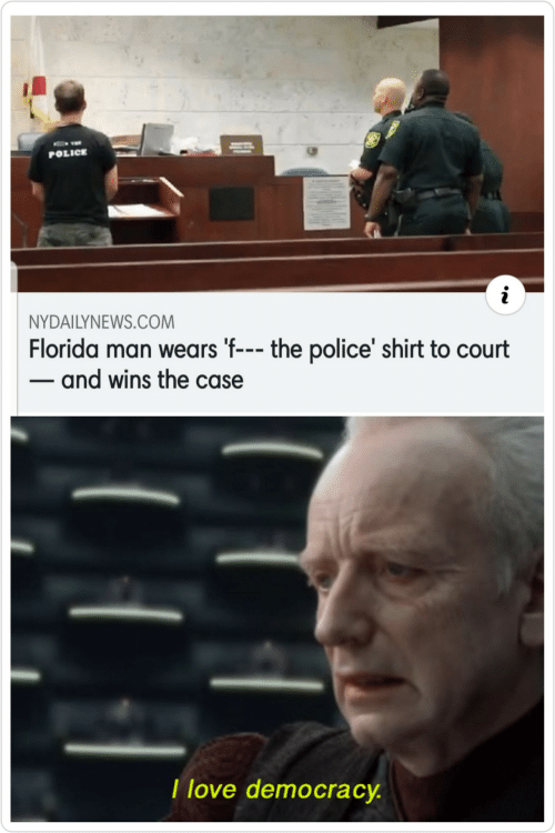 Love Democracy: POLICE  NYDAILYNEWS.COM  Florida man wears 'f--- the police' shirt to court  - and wins the case  I love democracy.