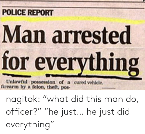 """Man Arrested For Everything: POLICE REPORT  Man arrested  for everything  Unlawful possession of a cured vehlcle.  firearm by a felon, theft, pos- nagitok:  """"what did this man do, officer?"""" """"he just… he just did everything"""""""