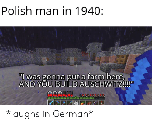 """polish: Polish man in 1940:  """"l was gonna put a farm here,  AND YOU BUILD AUSCHWITZ!!!  O0000 *laughs in German*"""
