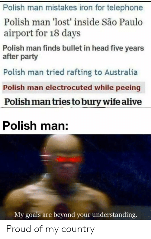 Understanding: Polish man mistakes iron for telephone  Polish man 'lost' inside São Paulo  airport for 18 days  Polish man finds bullet in head five years  after party  Polish man tried rafting to Australia  Polish man electrocuted while peeing  Polish man tries to bury wife alive  Polish man:  My goals are beyond your understanding. Proud of my country