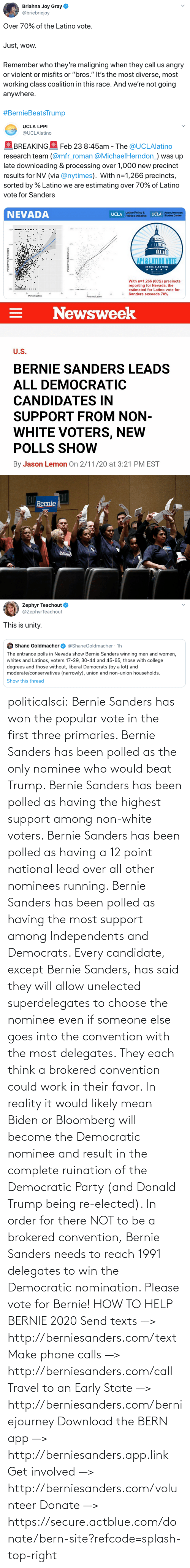 Vote For: politicalsci: Bernie Sanders has won the popular vote in the first three primaries. Bernie Sanders has  been polled as the only nominee who would beat Trump. Bernie Sanders  has been polled as having the highest support among non-white voters.  Bernie Sanders has been polled as having a 12 point national lead over  all other nominees running. Bernie Sanders has been polled as having the most support among Independents and Democrats.  Every candidate, except Bernie Sanders, has said they will allow  unelected superdelegates to choose the nominee even if someone else goes  into the convention with the most delegates. They each think a brokered  convention could work in their favor. In  reality it would likely mean Biden or Bloomberg will become the  Democratic nominee and result in the complete ruination of the  Democratic Party (and Donald Trump being re-elected). In order for there  NOT to be a brokered  convention, Bernie Sanders needs to reach 1991 delegates to win the  Democratic  nomination. Please vote for Bernie!  HOW TO HELP BERNIE 2020 Send texts —> http://berniesanders.com/text  Make phone calls —> http://berniesanders.com/call  Travel to an Early State —> http://berniesanders.com/berniejourney  Download the BERN app —> http://berniesanders.app.link  Get involved —> http://berniesanders.com/volunteer Donate —> https://secure.actblue.com/donate/bern-site?refcode=splash-top-right