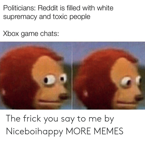 Dank, Frick, and Memes: Politicians: Reddit is filled with white  supremacy and toxic people  Xbox game chats: The frick you say to me by Niceboihappy MORE MEMES