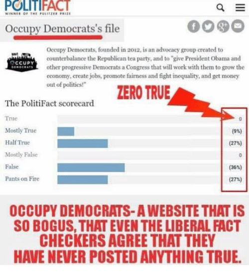 """checker: POLITIFACT  WINNER OF THE PUIETEBPRITE  Occupy Democrats's file  Occupy Democrats, founded in 2012, is an advocacy group created to  counterbalance the Republican tea party, and to """"give President obama and  OCCUPY  other progressive Democrats a Congress that will work with them to grow the  economy, create jobs, promote fairness and fight inequality, and get money  out of politics!""""  ZERO TRUE  The PolitiFact scorecard  True  Mostly True  (9%)  Half True  (27%)  Mostly False  False  Pants on Fire  (27%)  OCCUPY DEMOCRATS-AWEBSITE THAT IS  SO BOGUS, THAT EVEN THE LIBERAL ACT  CHECKERS AGREE THAT THEY  HAVE NEVER POSTED ANYTHING TRUE."""