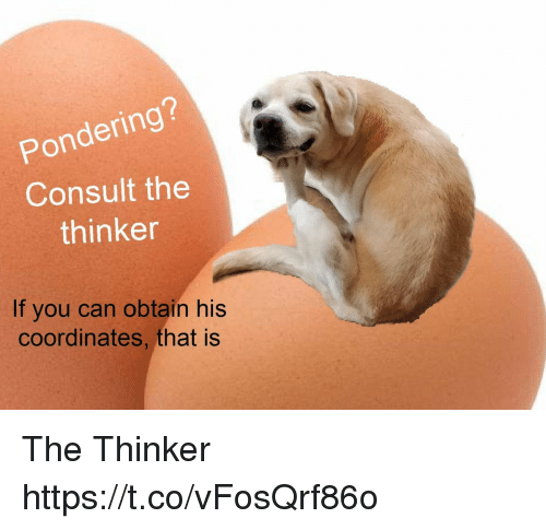 Coordinates: Pondering?  Consult the  thinker  If you can obtain his  coordinates, that is The Thinker https://t.co/vFosQrf86o