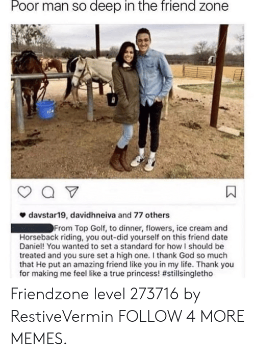 In The Friend Zone: Poor man so deep in the friend zone  davstar19, davidhneiva and 77 others  From Top Golf, to dinner, flowers, ice cream and  Horseback riding, you out-did yourself on this friend date  Daniel! You wanted to set a standard for how I should be  treated and you sure set a high one. I thank God so much  that He put an amazing friend like you in my life. Thank you  for making me feel like a true princess! Friendzone level 273716 by RestiveVermin FOLLOW 4 MORE MEMES.