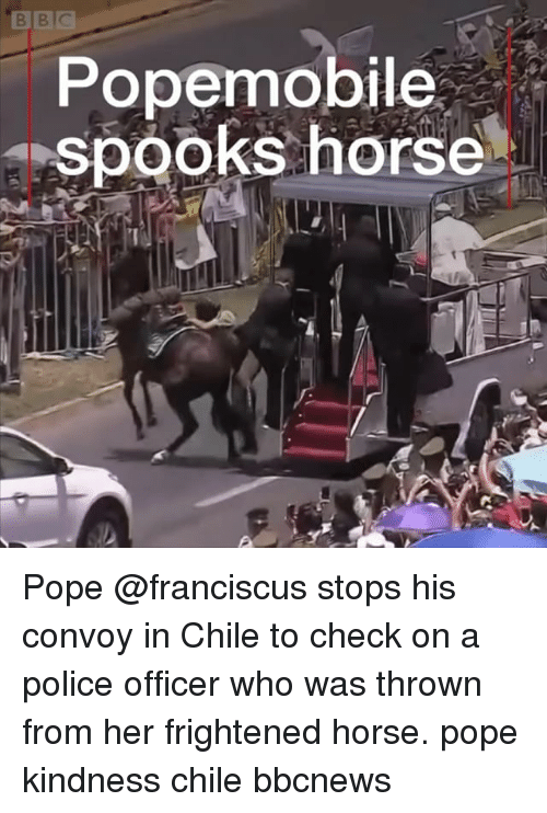 spooks: Popemobile  spooks horse Pope @franciscus stops his convoy in Chile to check on a police officer who was thrown from her frightened horse. pope kindness chile bbcnews