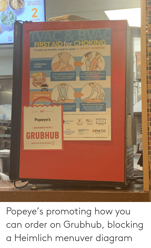 Popeye: Popeye's promoting how you can order on Grubhub, blocking a Heimlich menuver diagram