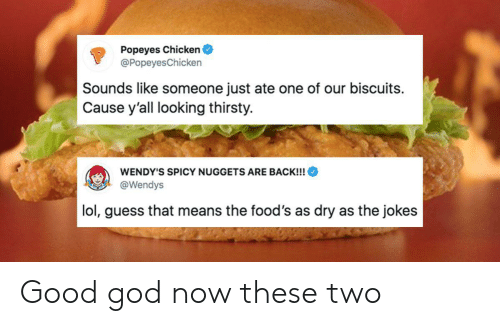 popeyes: Popeyes Chicken  @Popeyes Chicken  Sounds like someone just ate one of our biscuits  Cause y'all looking thirsty.  WENDY'S SPICY NUGGETS ARE BACK!!!  @Wendys  lol, guess that means the food's as dry as the jokes Good god now these two