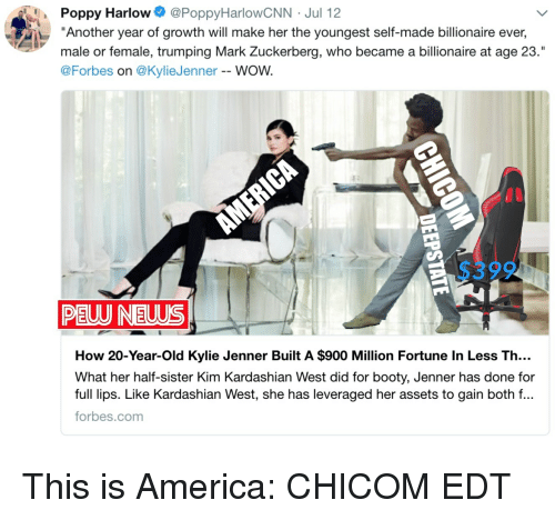 """America, Booty, and Kim Kardashian: Poppy Harlow @PoppyHarlowCNN Jul 12  """"Another year of growth will make her the youngest self-made billionaire ever,  male or female, trumping Mark Zuckerberg, who became a billionaire at age 23.""""  @Forbes on @KylieJenner - WOW.  PELU NEUUS  How 20-Year-Old Kylie Jenner Built A $900 Million Fortune In Less Th..  What her half-sister Kim Kardashian West did for booty, Jenner has done for  full lips. Like Kardashian West, she has leveraged her assets to gain both f...  forbes.com"""