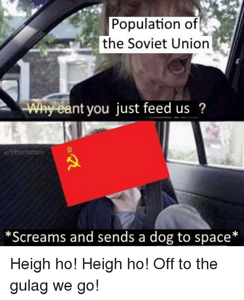 gulag: Population of  the Soviet Uniorn  Why eant you just feed us?  u/tittentatten  *Screams and sends a dog to space* Heigh ho! Heigh ho! Off to the gulag we go!