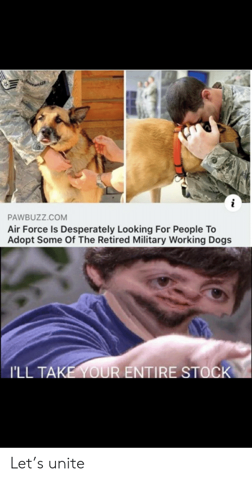 Dogs, Air Force, and Military: PORAGER  i  PAWBUZZ.COM  Air Force Is Desperately Looking For People To  Adopt Some Of The Retired Military Working Dogs  I'LL TAKE YOUR ENTIRE STOCK Let's unite