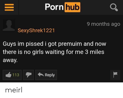 Girls, Porn Hub, and Porn: Porn  hub  9 months ago  SexyShrek1221  Guys im pissed i got premuim and now  there is no girls waiting for me 3 miles  away.  113  Reply meirl
