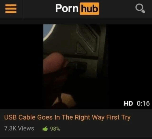 Dank, Porn Hub, and Porn: Porn hub  HD 0:16  USB Cable Goes In The Right Way First Try  7.3K Views  98%