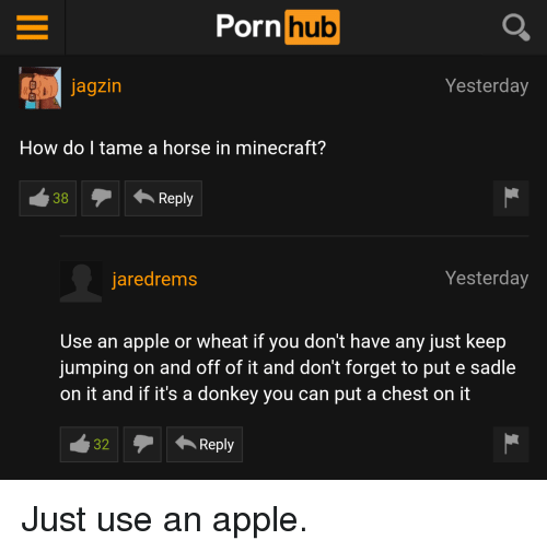 Appling: Porn  hub  Yesterday  Jagzin  How do I tame a horse in minecraft?  38 Reply  Yesterday  jaredrems  Use an apple or wheat if you don't have any just keep  jumping on and off of it and don't forget to put e sadle  on it and if it's a donkey you can put a chest on it  32  Reply Just use an apple.