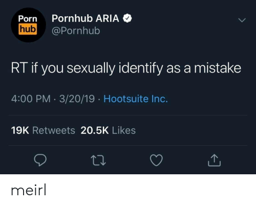Pornhub Aria: Porn Pornhub ARIA  hub@Pornhub  RT if you sexually identify as a mistake  4:00 PM 3/20/19 Hootsuite Inc.  19K Retweets 20.5K Likes meirl