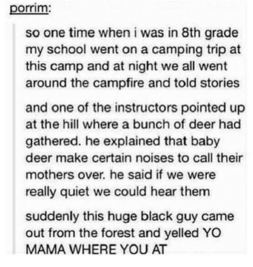 Deer, School, and Yo: porrim  so one time when i was in 8th grade  my school went on a camping trip at  this camp and at night we all went  around the campfire and told stories  and one of the instructors pointed up  at the hill where a bunch of deer had  gathered. he explained that baby  deer make certain noises to call their  mothers over. he said if we were  really quiet we could hear them  suddenly this huge black guy came  out from the forest and yelled YO  MAMA WHERE YOU AT