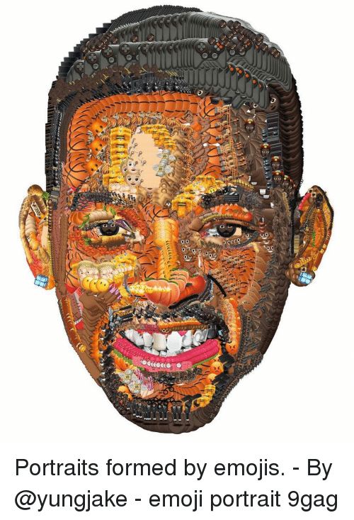 9gag, Emoji, and Memes: Portraits formed by emojis. - By @yungjake - emoji portrait 9gag