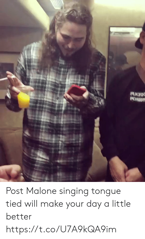 Funny, Post Malone, and Singing: Post Malone singing tongue tied will make your day a little better https://t.co/U7A9kQA9im