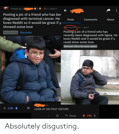 Love Relationship: Posted by u/  33h i.redd.it  Posting a pic of a friend who has bee  diagnosed with terminal cancer. He  loves Reddit so it would be great if y  showed some love  About  Posts  Comments  r dankmemes3h i.redd.it  Posting a pic of a friend who has  recently been diagnosed with ligma. He  loves Reddit and it would be great if u  could show some love.  Relationship Discussion  Removed: Title is the meme caption  1h  t 6.0k  LOOK AT HIS POST HISTORY.  t 288  Reply Absolutely disgusting.