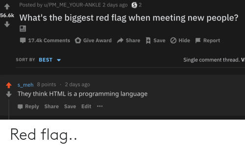 Comment Thread: Posted by u/PM_ME_YOUR-ANKLE 2 days ago S2  56.6k What's the biggest red flag when meeting new people?  Save Hide  17.4k Comments  Give Award  Share  Report  SORT BY BEST  Single comment thread. Vi  2 days ago  s_meh 8points  They think HTML is a programming language  Reply Share Save Edit Red flag..