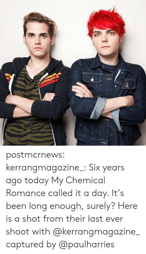 Instagram, Tumblr, and Blog: postmcrnews: kerrangmagazine_: Six years ago today My Chemical Romance called it a day. It's been long enough, surely? Here is a shot from their last ever shoot with @kerrangmagazine_ captured by @paulharries