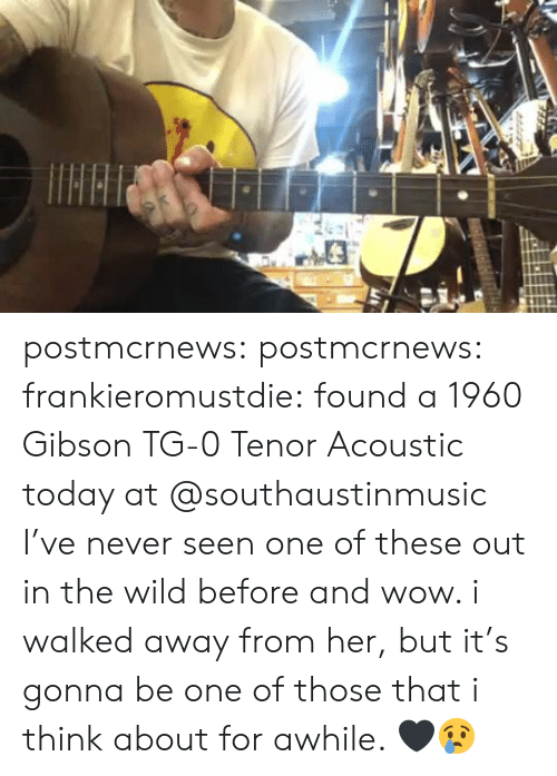 I Walked Away: postmcrnews:  postmcrnews:  frankieromustdie:found a 1960 Gibson TG-0 Tenor Acoustic today at @southaustinmusic I've never seen one of these out in the wild before and wow. i walked away from her, but it's gonna be one of those that i think about for awhile. 🖤😢