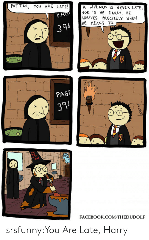 Pag: POTTER, You ARE LATE!  A WIZARD IS NEVER LATE  NOR IS HE EARLY. HE  ARRIVES PRECISELY WHEN  HE MEANS TO  YAC  394  PAG  394  FACEBOOK.COM/THEDUDOLF srsfunny:You Are Late, Harry