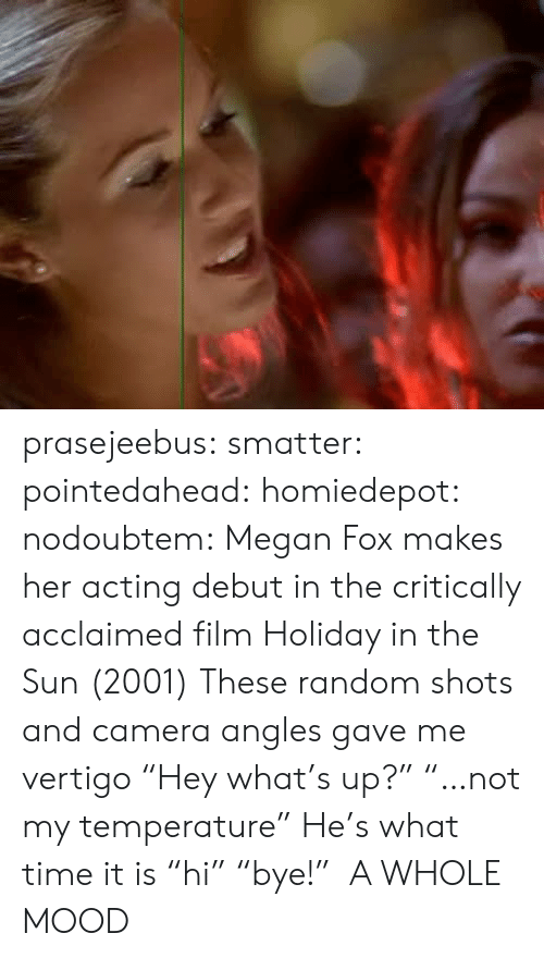 """Megan Fox: prasejeebus:  smatter:  pointedahead:   homiedepot:   nodoubtem:  Megan Fox makes her acting debut in the critically acclaimed film Holiday in the Sun (2001)   These random shots and camera angles gave me vertigo    """"Hey what's up?"""" """"…not my temperature""""   He's what time it is  """"hi"""" """"bye!"""" A WHOLE MOOD"""