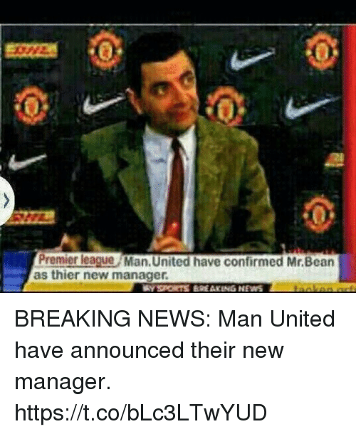 News, Premier League, and Soccer: Premier league Man. United have confirmed Mr.Bean  as thier new manager BREAKING NEWS: Man United have announced their new manager. https://t.co/bLc3LTwYUD