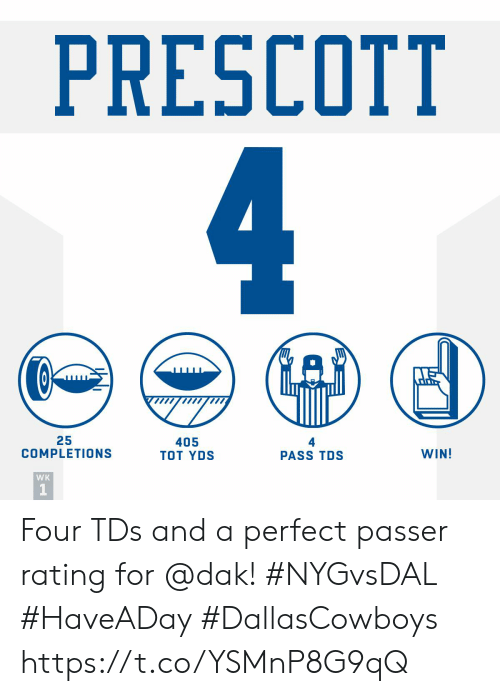 Rating: PRESCOTT  25  COMPLETIONS  405  TOT YDS  WIN!  PASS TDS  WK Four TDs and a perfect passer rating for @dak! #NYGvsDAL #HaveADay #DallasCowboys https://t.co/YSMnP8G9qQ