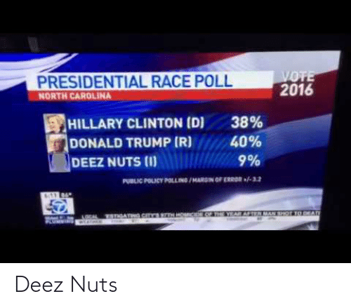 Deez Nuts, Donald Trump, and Hillary Clinton: PRESIDENTIAL RACE POLL  NORTH CAROLINA  VOTE  2016  HILLARY CLINTON (D)  DONALD TRUMP (R)  38%  40%  9%  DEEZ NUTS (I)  PUBLIC POLICY POLLING /MAROIN OF ERROR -12  YEAR AFTEN MAN SHOT TO DEAD  LOCAL TETIGATNG.CITKESIN  WIAlnLS Deez Nuts