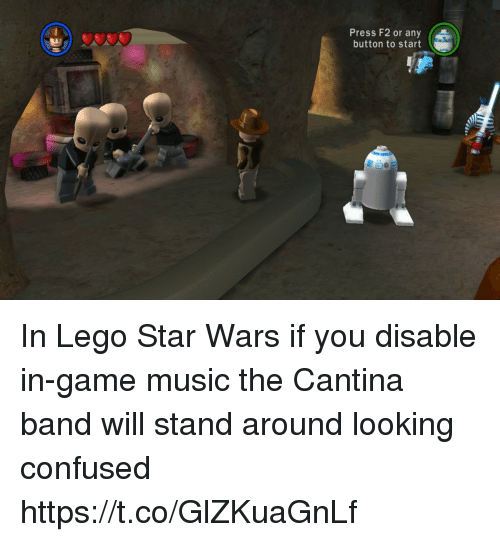 cantina band: Press F2 or any  button to start In Lego Star Wars if you disable in-game music the Cantina band will stand around looking confused https://t.co/GlZKuaGnLf