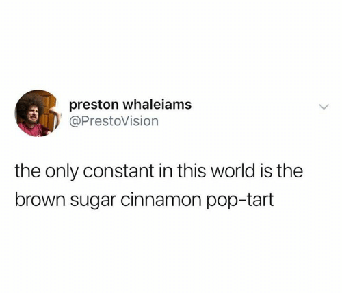 pop tart: preston whaleiams  @PrestoVision  the only constant in this world is the  brown sugar cinnamon pop-tart