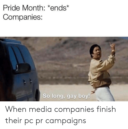 pride month: Pride Month: *ends*  Companies:  So long, gay boy! When media companies finish their pc pr campaigns