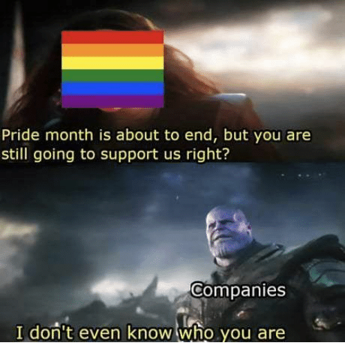 pride month: Pride month is about to end, but you are  still going to support us right?  Companies  I don't even know who you are